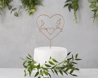 Wedding Cake Topper, Wire Cake Topper, Copper Cake Topper, Heart Wire Cake Topper, Couple cake toppers, monogram cake topper