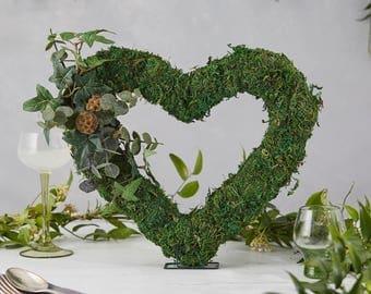 Wedding door wreath - Year round wreath - heart mesh wreath - fall wreath - front porch decor - autumn wreath  - wreath eucalyptus - wedding