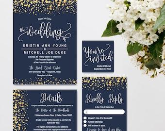 Wedding invitation kits etsy navy and gold glitter dots wedding invitation suite online wedding invite templates affordable wedding stopboris Images