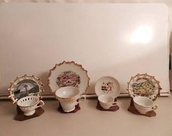 4 small souvenir cups saucer sets ohio new york niagara falls flordia