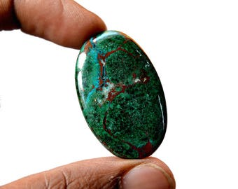 Chrysocolla Large 46.5 Cts AAA Quality Natural Gemstone Attractive Designer Oval Shape Cabochon 37x23x5 MM R14084