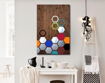 Metal Wood Wall Art, Modern Metal Wall Art Decor, Geometric Wood Wall Art, Modern Abstract Wall Art