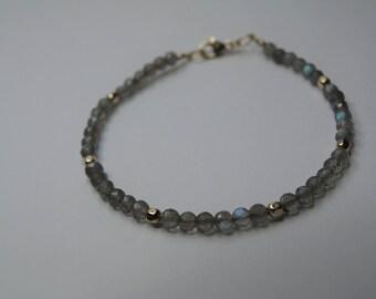Labradorite Bracelet, Faceted Labradorite Beads, Gold Filled Beads