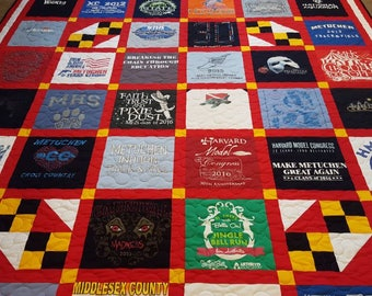 Custom Tshirt quilt. T-shirt quilt made out of 9-49 tees. : quilt made out of t shirts - Adamdwight.com