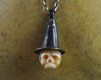 Hand Carved Pearl Skull Wearing Sterling Silver Witch Hat - Pearl Skull Jewelry - Halloween Necklace - Skull Necklace - Pearl Necklace