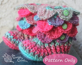PATTERN ONLY Mermaid Scales Textured Socks, PDF Digital Download, Crocodile Stitch Baby Booties, Dragon Scale Slippers, Crochet Pattern
