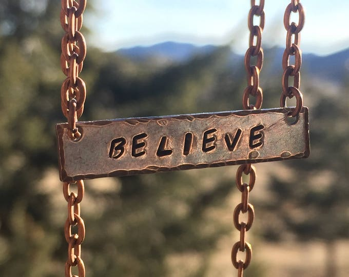 Copper Stamped Believe Necklace