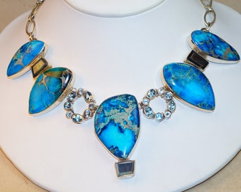 Blue Mohave Turquoise with Labradorite    Set in 925 Solid Sterling Silver