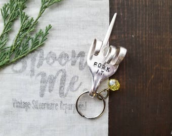 Fork Key Chain, Stamped Fork, Stamped, Fork Gifts, Funny Gifts, Silverware Key Chain, Gifts Under 20, Handmade Gift