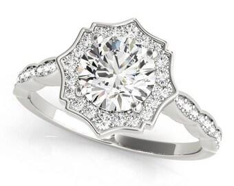 Scalloped Halo Forever Brilliant Moissanite Engagement Ring