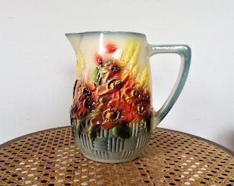 Water pitcher 1900 Art Nouveau french majolica with flowers of fields/illuminati10 decor
