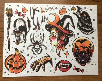 Halloween themed tattoo flash print