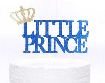 Little Prince Royal  Birthday Cake Topper, Boy's First Birthday Crown Birthday Royal Prince Birthday  Blue and Gold Babyshower Cake Topper