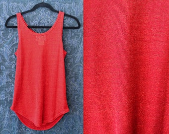 Authentic AKA Los Angeles Sparkly Red Long Tank Top