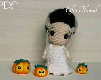 Elfin Thread- Lucy, the Bride of Frankenstein doll Amigurumi PDF Pattern (Crochet Halloween doll pattern)