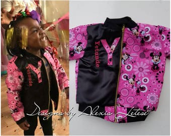 Minnie Mouse; Bomber Jacket; Minnie Mouse themed Bomber Jacket; Minnie Mouse Jacket; Jacket; Toddler Jacket; Birthday Outfit; Birthday Gift