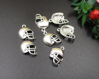 10Pcs 14x20mm Football Helmet Charms Antique Silver Tone-p1657