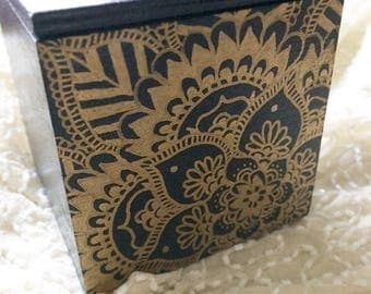 Hand Painted wooden gold mandala box