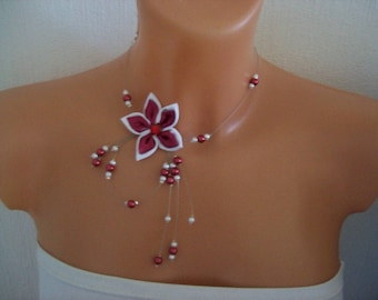 Necklace bridal wedding party evening satin flower, pearls White / Burgundy bridesmaid ceremony
