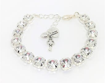Clear Crystal Swarovski Bridal Bracelet Sparkly Wedding Jewelry 8mm Crystal Chatons Diamond Cut Bracelet Clear Crystal Tennis Bracelet