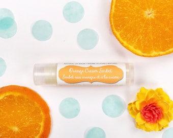 Orange Cream Sorbet Natural Ingredient Lip Balm / Orange Creamsicle Inspired Lip Butter / Perfect Summer Citrus Chapstick for Teens & Girls