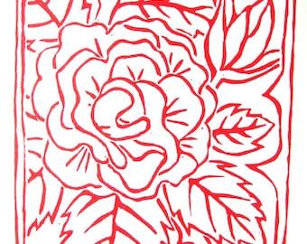 ROSES Print - 6x6. Linoleum Prints Block Cuts Hand Printed Hand Carved Linocut Sea Print Block Prints Handmade Gifts