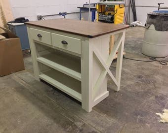 Kitchen Island with Seating and Shelves