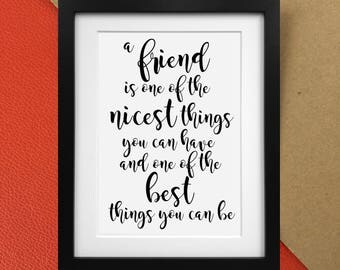 """AA Milne Winnie the Pooh """"A Friend is the greatest"""" quote print Poster"""