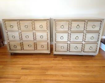 Vintage Pair Of Dorothy Draper Three Drawer Dressers