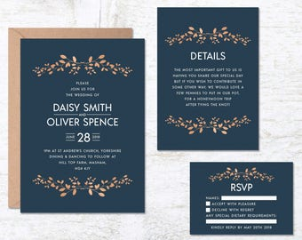 Blue Wedding Invitation Template, Navy Blue Wedding Invitations, Wedding Invitation Printable, Floral Wedding Invite, Vintage Wedding