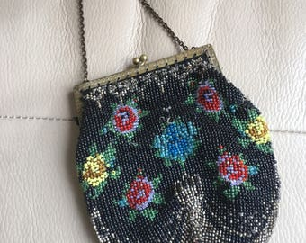 Victorian Black Glass Floral Evening Bag