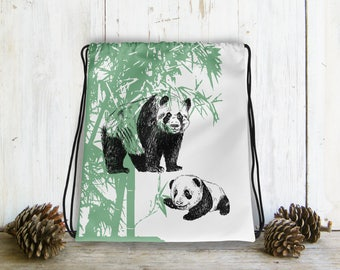 Drawstring Bag For Kids, Panda Gifts, Panda Family Backpack, Bag Drawstring, Gift For Boy, Kids Bag, Preschool Bag, Green White Bag