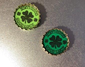 Good Luck St. Patrick's Day Shamrock Bottle Cap Magnets