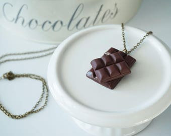 Chocolate bar necklace - polymer clay