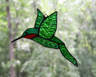 Stained glass hummingbird suncatcher, green, red and blue