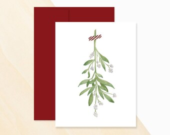 Mistletoe Sprig Watercolor Holiday Card, Mistletoe Holiday Card, Holiday Mistletoe Card, Mistletoe Sprit Greeting Card