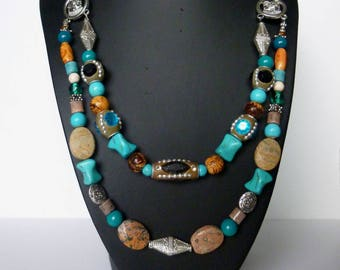 "Ethnic ""Rio Grande"" double row silver, turquoise stones, Jasper, glass, necklace..."