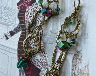 """Earrings """"Lenore"""" Victorian style, bronze metal filigree, Crystal and glass iridescent"""
