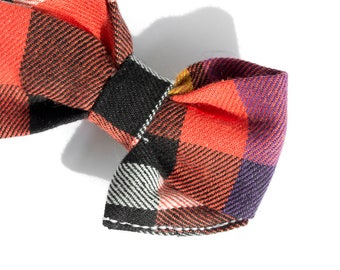 Plaid Fall Bow for Girls -Bow Headband Girls - Wedding Hair Accessories - Fabric Hair Bow Clip - Nylon Headband - Hair Clip for Toddlers
