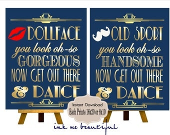 PRINTABLE Navy and Gold, Bathroom Sign,Gatsby party decoration, Roaring 20s Art deco,Wedding Sign, Wedding Decor, Dollfaces, Old Sport
