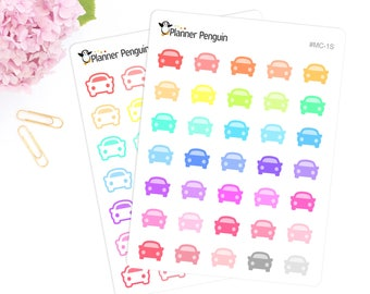 Car Multi color Icon Planner stickers For Erin Condren Life Planner or Happy Planner // #MC-1