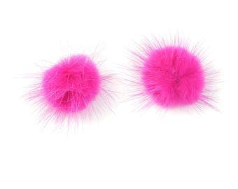 5 hot pink fur 25mm without hanging tassels