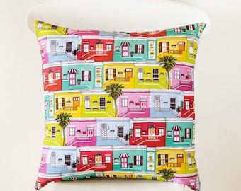 Colourful Cape Town houses handmade cushion cover