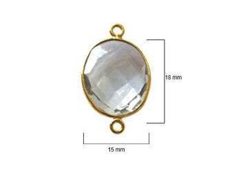 CLEAR QUARTZ OVAL 15X18 mm gold double q