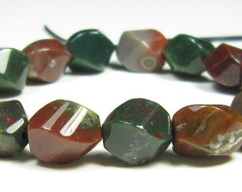 8x6mm Quality Lovely Bloodstone 4-Sided Twisted Wavy Small Barrel Bead - 15 beads - #WB7058