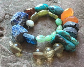 Mixed gemstone strand, mixed lot, stone sampler