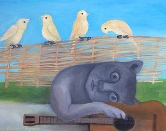 Music Peace Cat Canaries Guitar Original Oil Painting