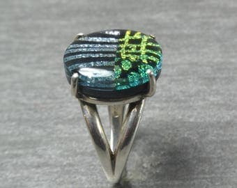 Statement Ring, Green, Silver, Blue, Dichroic Glass Ring, Sterling Silver Ring Band, Size 7, Fashion Ring, One of a Kind, Fused Glass