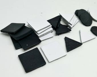 Leather Die Cut, 20mm. (2 cm.) 30mm. (3 cm.), 50 Pcs. (25 pairs), Black and White, Three Shape Squares Ovals & Triangles, DIY Projects.