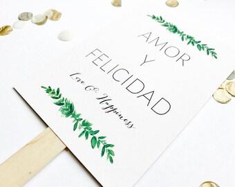 Wedding program fans 5/pk, order of service, watercolour, modern calligraphy, typography